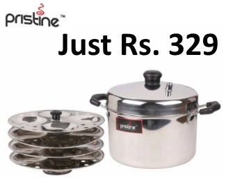 Pristine Silver Stainless Steel 4 Plate Induction Compatible Idle Cooker at Rs. 348 low price