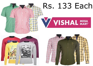 Offers Added- Men Assorted Casual Full Sleeve Shirt at Just Rs. 133/Each discount deal