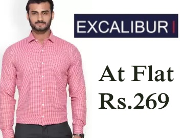 Flat Rs.269 : Excalibur shirts at 55% Off {Selling Fast} discount deal