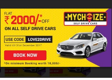 Get Flat Rs. 1000/ Rs. 2000 off on Self Drive Cars @ Mychoize discount deal