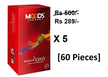 60 Pieces:- Moods Absolute XTASY (12 Pcs) (Pack of 5) @ Rs. 289 low price