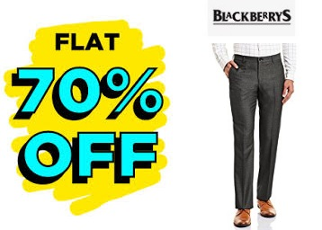 [Select Sizes]:- Flat 70% off on blackberrys Trousers + Rs. 75 Cashback discount deal