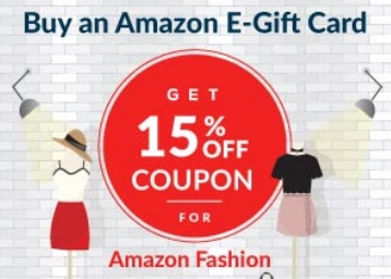 Buy Amazon E-Gift Card & Get Coupon Code for 15% OFF discount deal