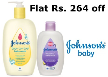 Flat Rs. 264 off:- Johnson's Top to Toe Wash + FREE Baby Lotion at Rs.246 discount deal