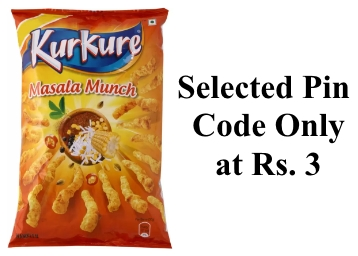 Kurkure Masala Munch (100 g) ay Juat Rs. 3 (Selected Pin Code) discount deal