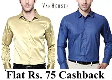 Van Heusen Clothing at Flat 70% OFF + Extra Rs. 75 Cashback discount deal