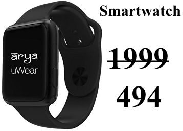 LOWEST EVER : Salora Arya uWear Smartwatch at Flat 75% OFF discount deal