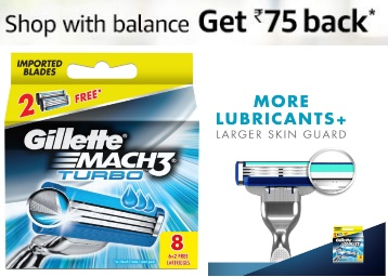 Extra 15% Coupon:- Gillette Mach 3 Shaving Razor Blades – 8s Pack at Rs. 655 discount deal