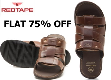 Flat 75% off:- Red Tape Men's Leather Slippers at Just Rs. 484 [Limited Sizes] low price