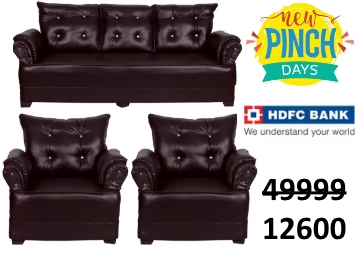 HOMESTOCK Leatherette 3 + 1 + 1 Brown Sofa Set at Flat 72% OFF low price