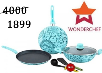 [Lowest Online] Wonderchef Aluminium Cookware Set Of 4 at just Rs.1899 + FREE Shipping discount deal