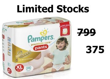 [Now on All Pincodes]:- Pampers Care Extra Large Diaper (28 Count) at Rs. 375 low price