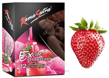 Kamasutra Excite 12 Count Strawberry Condoms at Flat 48% OFF discount deal