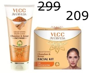 Flat 30% off: VLCC Chandan & Kesar Facewash & Facial Kit at Rs. 209 + Free Shipping discount deal