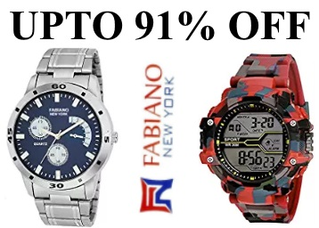 Upto 91% Off : Fabiano Watches starts from Rs.265 + 50 Cashback low price