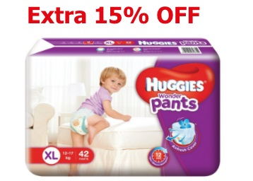 Extra 15% Code – Huggies Wonder Pants Extra Large Diapers (42 Count) at Rs. 459 discount deal