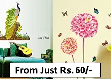 Get Wall Sticker Min.88% off From Rs.60+ FREE Shipping discount deal