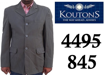 Koutons Men's Blazer at Flat 78% OFF + Extra 15% Cashback discount deal