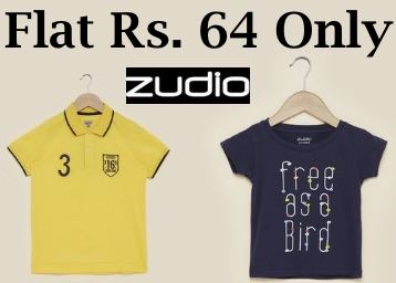Zudio Cotton Kids T-Shirt at Flat 50% OFF From Rs. 64 discount deal