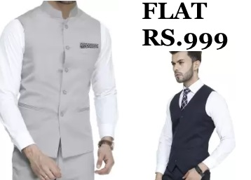 [4* Rating] ManQ Solid Men's Waistcoat at Flat Rs.999 (LAST DAY SALE) discount deal