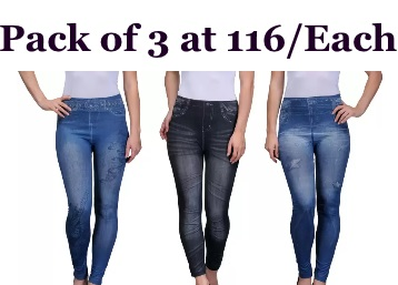 Oleva Women's Multicolor Jeggings (Pack of 3) at Just Rs.349 low price