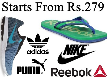 Branded Footwear Reebok, Puma, Nike & more starts from Rs.279 discount deal
