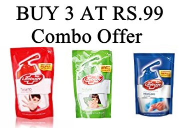 Buy any 3 Lifebuoy Hand Wash 185ml at Rs 99 discount deal