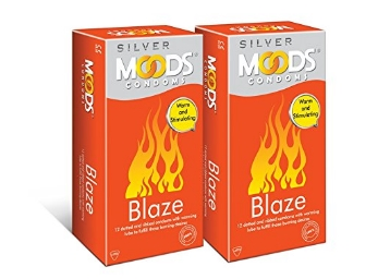 Flat 55% Off:- Moods Silver Blaze Condom, 12 Count (Pack of 2) discount deal