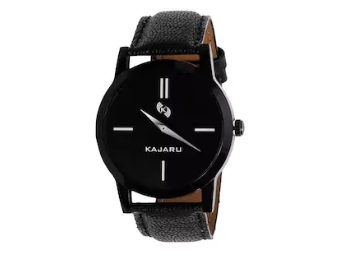 Flat 83% Off – Kajaru Black Leather Strap Men Quartz Watch at Just Rs. 19 low price