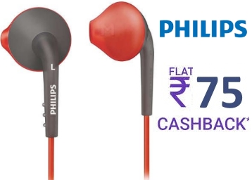 Philips ActionFit SHQ1200 Sports In-Ear Headphones at Flat 42% OFF discount deal