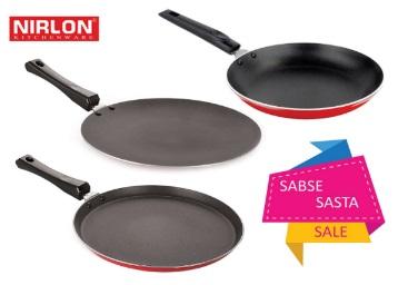 Sabse Sasta:- Nirlon Non-Stick Cookware Set, 3-Pieces at Just Rs. 701 low price