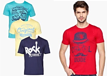 LIFE By Shoppersstop Men's Printed T-shirt – Set of 3 at Just Rs. 360 low price