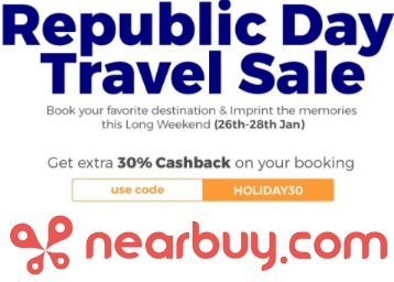 Republic Day Travel Sale : Book Hotels at Upto 68% Off + Extra 30% Cashback discount deal