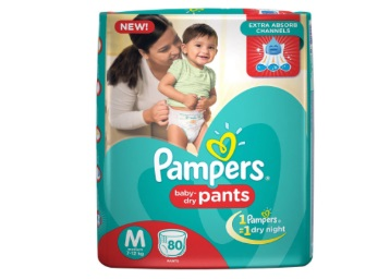 Flat Rs. 317 off:- Pampers Medium Size Diapers Pants (80 Count) low price