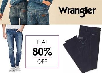 Bumper Deal:- Flat 80% Off on Wrangler Men's Jeans + 10% Cashback low price