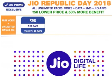 Jio Republic Day Offer - Get 50% More Data on Jio Mobile Recharges