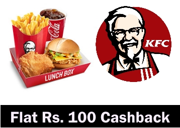 LOOT – Order Food From KFC Online & Get Flat Rs. 100 Cashback low price