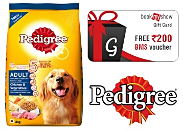 Pedigree FREE Rs. 200 BookMyShow Voucher, Whiskas FREE Rs. 100 Voucher discount deal