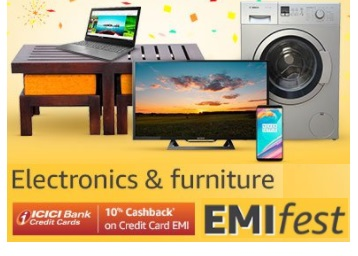 EMI Fest – Electronic & Furniture at Upto 70% off + Extra 10% Cashback discount deal