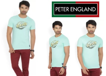 Flat 71% off On Peter England T-shirt at just Rs.185 (All Sizes Available) low price
