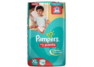 Get Pampers Extra Large Size Pants Diapers, 58 Pieces at just Rs.619 low price