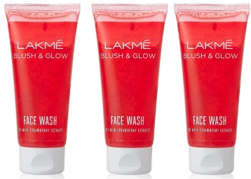 Lakme Blush and Glow Strawberry Gel Face Wash, 100g (Pack of 3) discount deal