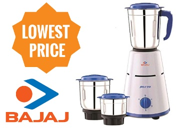 Lowest Ever:- Bajaj Pluto 500 Watt 3 Jar Mixer Grinder at Flat 55% off discount deal