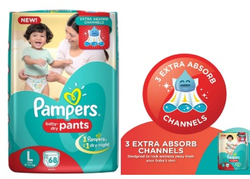 Mega Saver:- Pampers Large Size Diaper 68 Count at Flat Rs. 320 off low price
