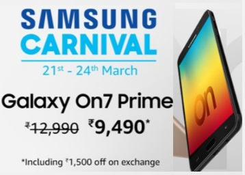 Samsung Carnival – Get Up To Rs. 8000 Cashback On Samsung discount deal