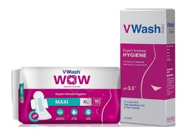 Vwash Liquid Wash – 200 ml + 16 WOW Sanitary Pads at Rs. 205 low price
