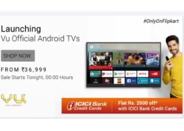 Worlds First Android TV's:- Vu TVs at Big Discount + Extra Rs. 2000 off low price