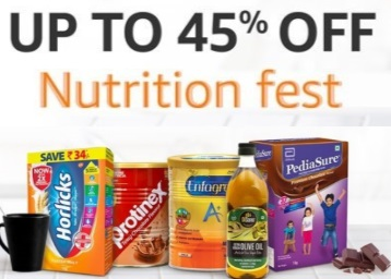 Nutrition Fest:- Up to 45% off + Extra [10% – 20% off] + Rs. 50 Cashback discount deal