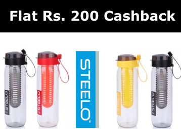 Best Seller : Steelo Sante Infuser Water Bottle For FREE [Get Flat Rs. 200 Cashback] discount deal
