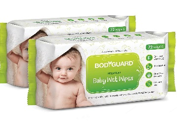 BodyGuard Premium Free Baby Wet Wipes 144 Wipes (Pack of 2) low price